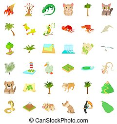 Green landscape icons set, cartoon style