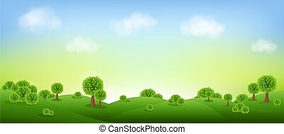 Green Landscape Isolated With Clouds And Sky