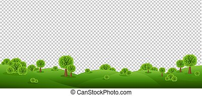 Green Landscape Isolated With Transparent Background