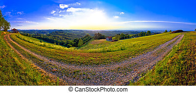 Green landscape of Medjimurje region panoramic view from hill