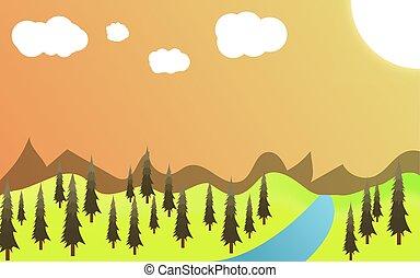 green landscape of sunny