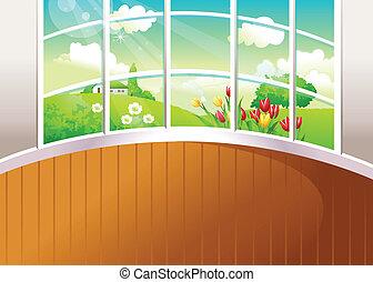 Green landscape seen from window