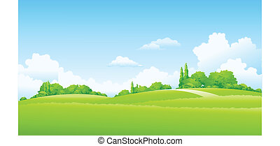 There are green field and bush in a clear day.