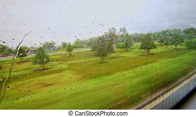 Green Landscape Through Moving Train Window with Rain Drops