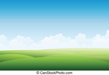 Vector background illustration of a empty green landscape with blue sky.