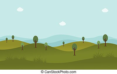 Green landscape vector flat illustration