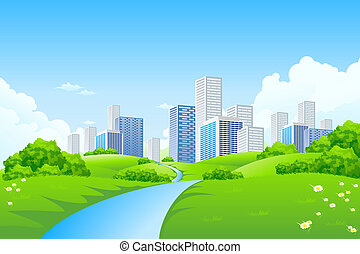 Green landscape with city - Green landscape with trees river...