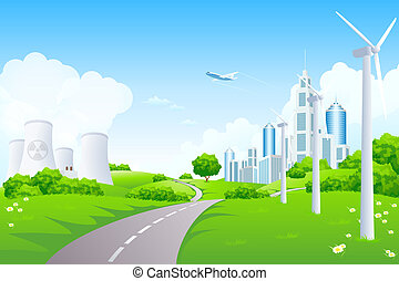 Green Landscape with City Windmills and Nuclear Power Plant