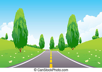 Green Landscape with Flowers Trees Clouds and road