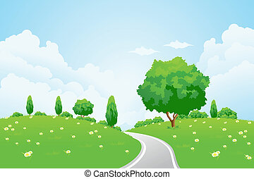 Green Landscape with hill tree road and flowers