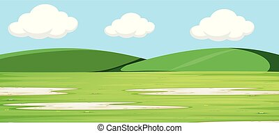 Green landscape with hills background