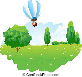 Green Landscape with Hot Air Balloon in the Sky