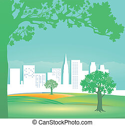 Green Landscape with houses and tre