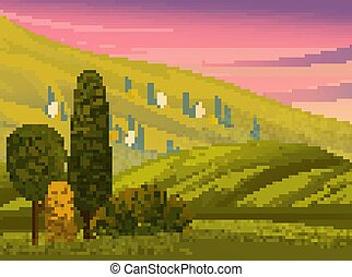 Green landscape with mountains vector illustration. Rural summer meadow terrain flat style