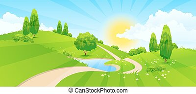 Green Landscape with Hills, Trees, Clouds, Lake, Sun and Road