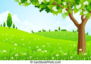 Green Landscape with Flowers Trees and Clouds