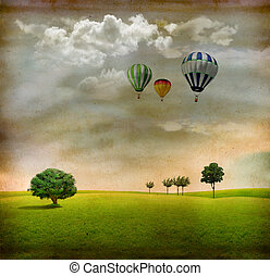 Vintage landscape with trees, clouds and air balloons