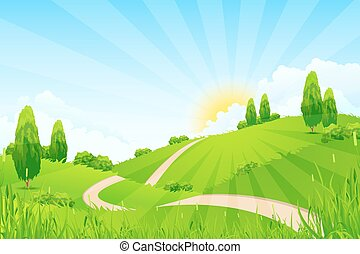 Green Landscape with Hills, Trees, Clouds, Sun and Road