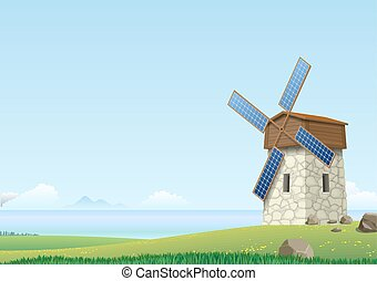 Green landscape with windmill
