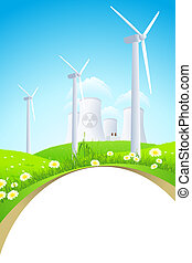 Green Landscape with Windmills and Nuclear Power Plant