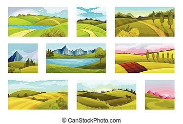 Green Landscapes with Hills and Clear Sky Vector Illustration Set. Natural Horizontal Scenery or Scape Concept