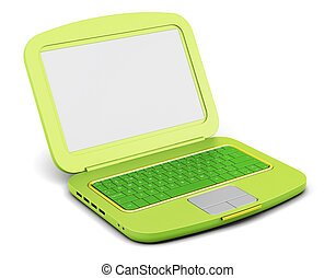 Green laptop isolated on white background. 3d rendering