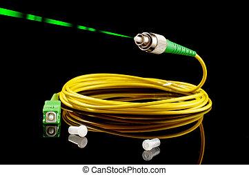 Green laser beam from fiber