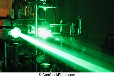 green laser beam - Laboratory installation with a green...