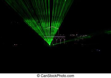 Green laser beams