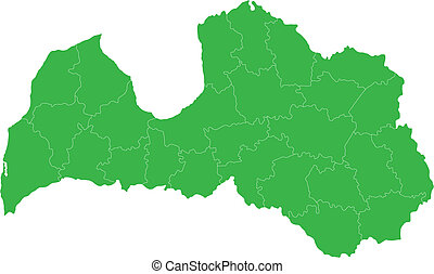 Green Latvia map - Administrative division of the Republic...