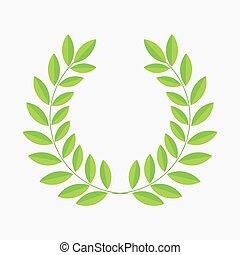 Green laurel leaf wreath.