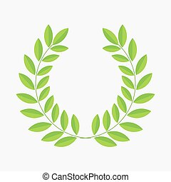 Green laurel leaf wreath.