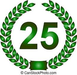 green laurel wreath 25 years - illustration of a green...