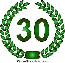 green laurel wreath 30 years