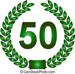 green laurel wreath 50 years - illustration of a green...