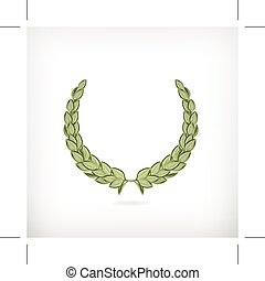 Green laurel wreath, icon, isolated on white background