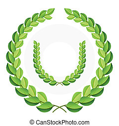 Detailed vector illustration of a green laurel wreaths