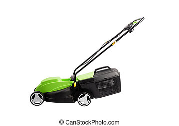Cutting grass gardening tool, new lawn mower machine at studio isolated white background for cut out