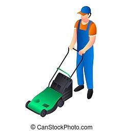 Green lawnmower icon, isometric style