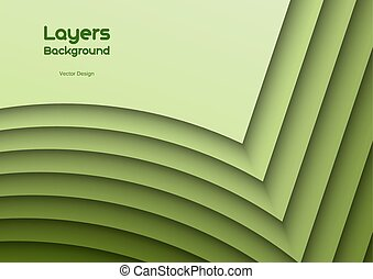 Green Layeres - Green background as many wavy layers. Vector...