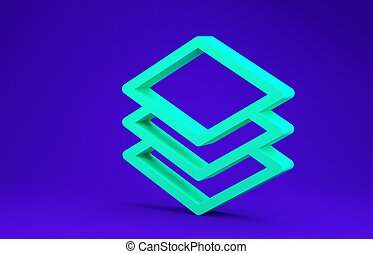 Green Layers icon isolated on blue background. Minimalism concept. 3d illustration 3D render