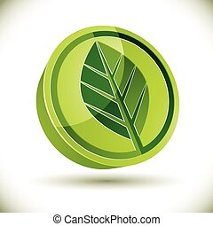 Green leaf 3d round vector icon.