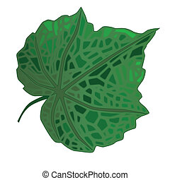 Green Leaf - A green fresh leaf isolated over a white...