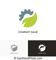Green leaf and gear ecology logo
