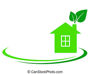 green leaf and house with place for text