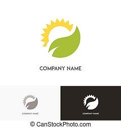 Green leaf and sun logo
