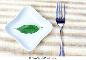 Green leaf as vegetarian diet