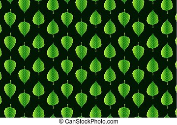 Green leaf birch on green background - vector pattern,...