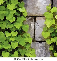 green leaf branches with stone wall