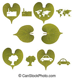 Green leaf, car, industry, world map and tree isolated